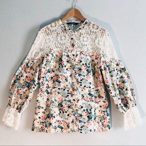 TOV Floral Lace Long Sleeved Blouse NWOT
